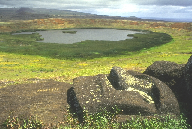 Crater Lake And Quarry Of Rano Raraku