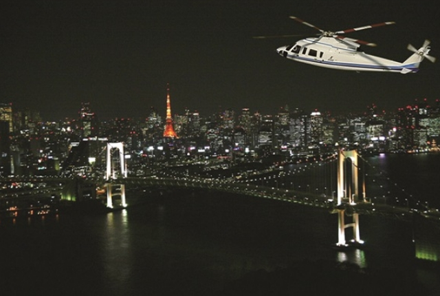 Night Cruising In Helicopter In Tokyo